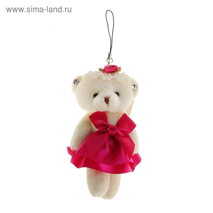 """Мягкая игрушка-подвеска """"Мишка в платье"""" с бантиком, цвет малиновый"""