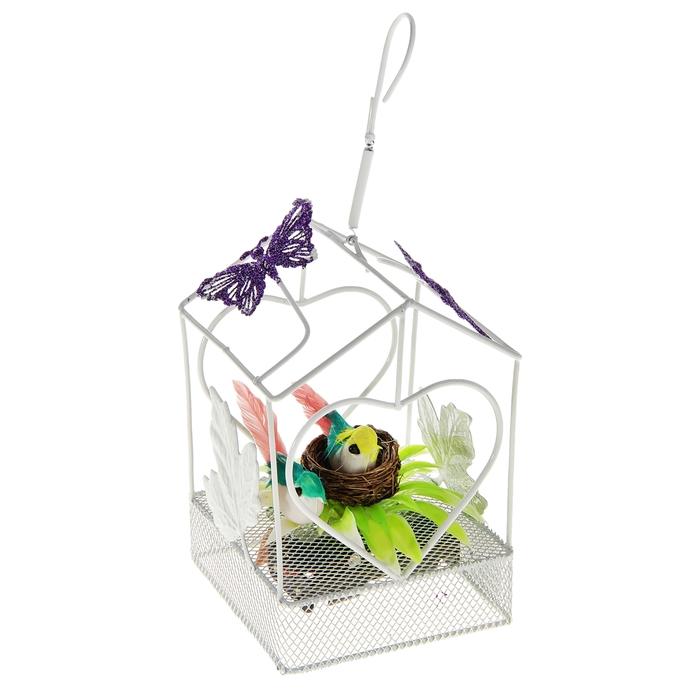 """Сувенир музыкальный """"Парочка в домике"""", с бабочками, световой"""