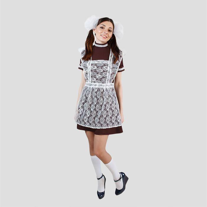 """Костюм """"Отличница"""", платье, фартук гипюр, банты 2 шт, размер 42-44"""