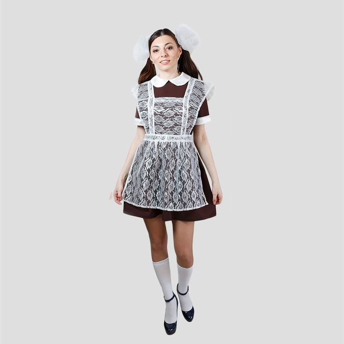 """Костюм """"Выпускница"""", платье, фартук гипюр, банты 2 шт, размер 46-48"""