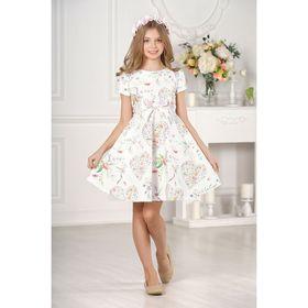 Платье для девочки family look  цвет белый, р-р 28, рост 98 см