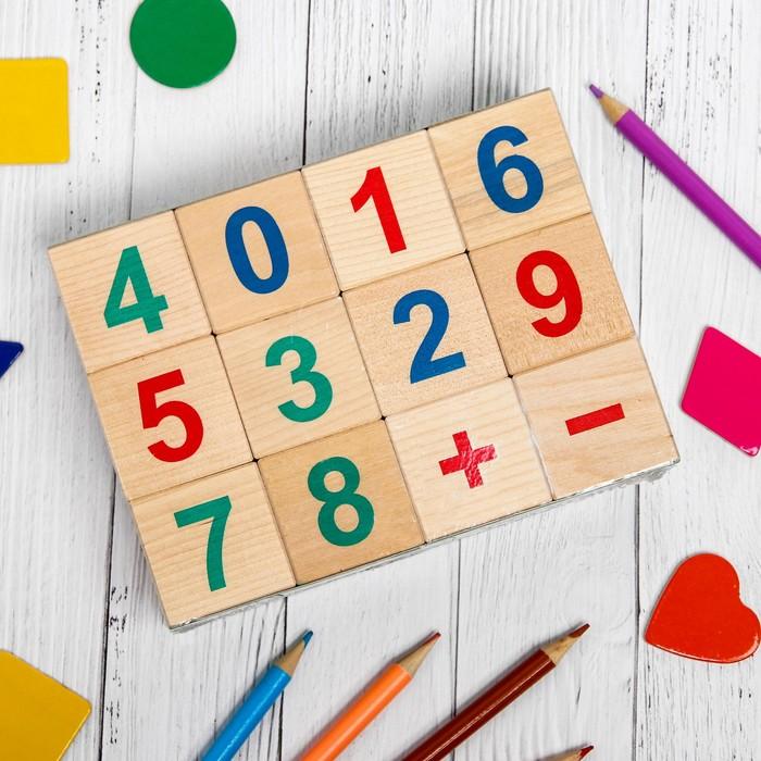 Кубики «Весёлый счёт», 12 шт., кубик: 3,8 × 3,8 см - фото 728125285