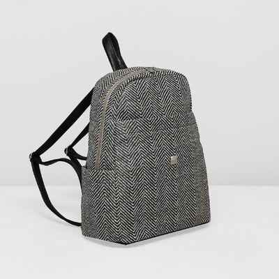 Рюкзак с отделом на молнии, 3 наружных кармана, цвет чёрный/бежевый