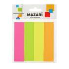 Флажки с клеевым краем 19x76мм MAZARi, 4 блока по 100 листов, 4 цвета