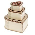 Набор из трех шкатулок «Сердце», Большая-21х20х10, средняя- 15,5 х14,5х6,8 , малая-11х10х4,8   23918