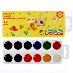 Акварель 12 цветов, «Каляка-Маляка», в картонной коробке, без кисти