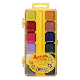 Акварель 24 цвета «Каляка-Маляка», в пластиковой коробке, без кисти