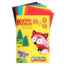 Картон цветной двухсторонний 195х265 мм, 7 листов, 7 цветов «Каляка-Маляка», мелованный