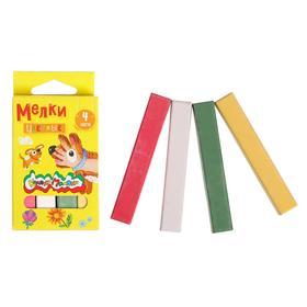 Мелки цветные в наборе 4 штуки, «Каляка-Маляка» квадратные Ош