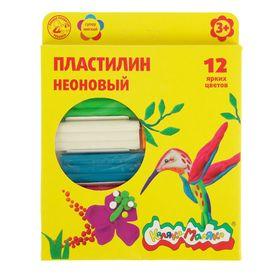 Пластилин Neon 12 цветов 180 г «Каляка-Маляка», неоновый, со стеком