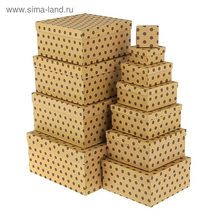"""Набор коробок 11 в 1 """"Горох на крафте"""", 25,5 х 25,5 х 13 - 5,5 х 5,5 х 2,5 см."""