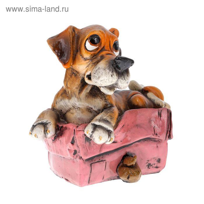 """Копилка полистоун """"Пёс Феликс на сумке"""" 14,5х10,5х13 см"""