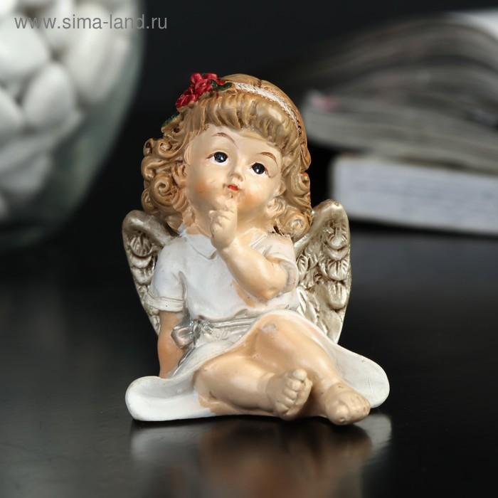 """Сувенир полистоун """"Ангелочек-девочка с пухлыми щечками"""" МИКС 5х5х3,5 см"""