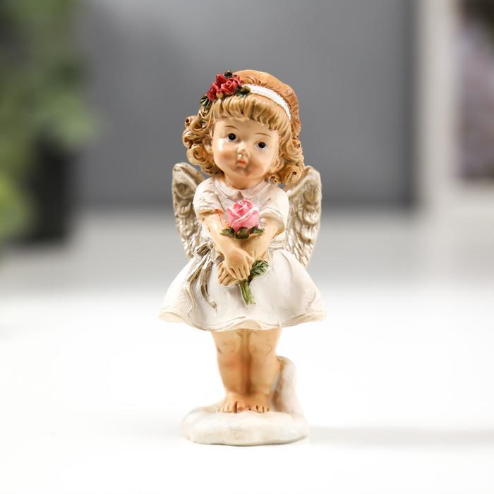 """Сувенир полистоун """"Ангелочек-девочка с пухлыми щечками с книгой/розой"""" МИКС 9х3,5х3,5 см"""