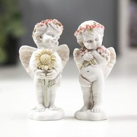"Сувенир полистоун ""Белоснежный ангел с подсолнухом/цветами"" МИКС 8,5х3х3 см"