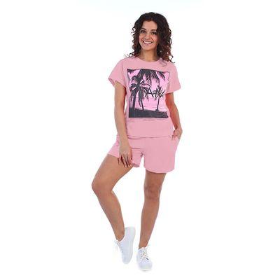Комплект женский (футболка, шорты) Тропики 2029а, цвет розовый, р-р 48