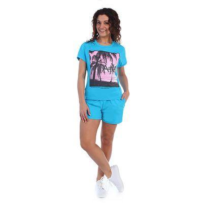 Комплект женский (футболка, шорты) Тропики 2029а, цвет бирюзовый, р-р 52