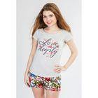 Комплект женский (футболка, шорты) 8727 цвет белый, р-р 50
