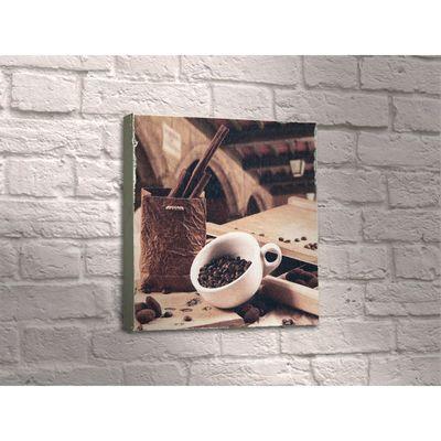 """Картина """"Кофейные зёрна в чашке и палочки корицы"""""""