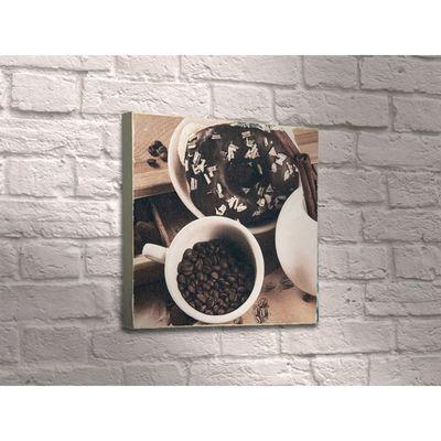"""Картина """"Шоколадный пончик с чашкой кофейных зёрен"""""""