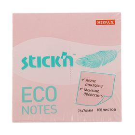Блок с липким краем Hopax ECO, 76 x 76 мм, 100 листов, пастель, розовая