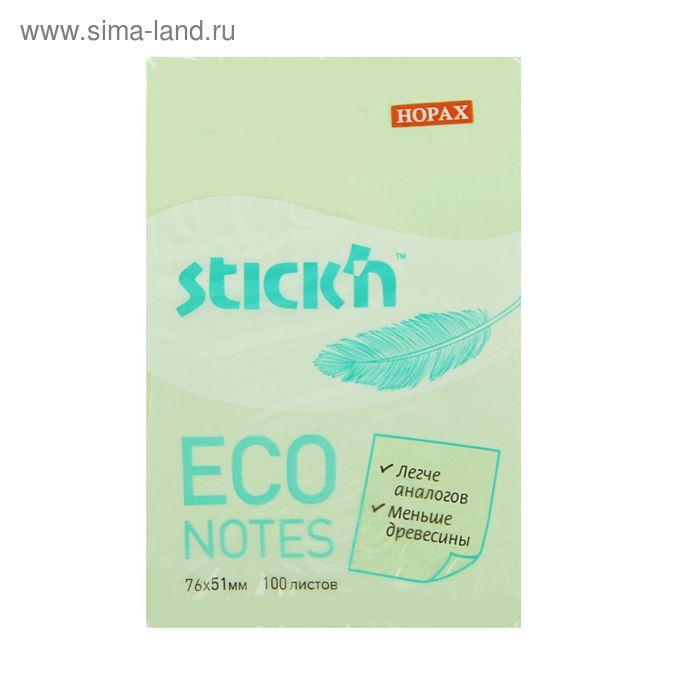 Блок с липким краем Hopax ECO 51x76 мм, 100 листов, пастель, зелёная