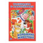 Раскраска с наклейками «Домашние животные», 16 наклеек