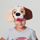 """Шапка """"Собака темно коричневая с бежевыми глазницами"""" размер 52-57см"""