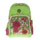 Рюкзак школьный Hatber SOFT 41*29*14 «Цветочный орнамент», зелёный
