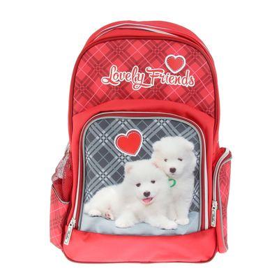 Рюкзак школьный эргономичная спинка для девочки Hatber 41*29*14 SOFT «Щенки», красный NRk_16057