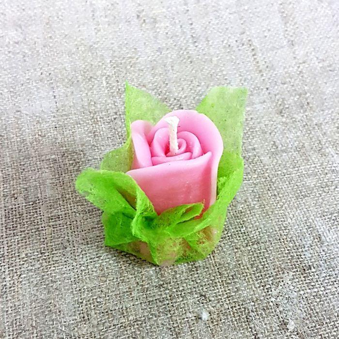 Свеча ароматическая «Бутон розы», ручная работа, розовая, 4.5 х 3.5 см