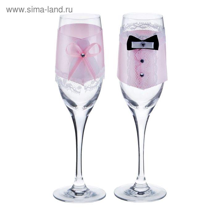 Декор на бокалы, набор 2 шт, цвет розовый