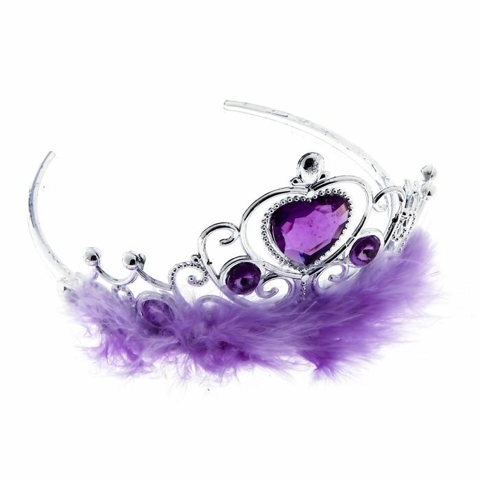 """Корона с мехом и стразами """"Леди"""" фиолетовая"""