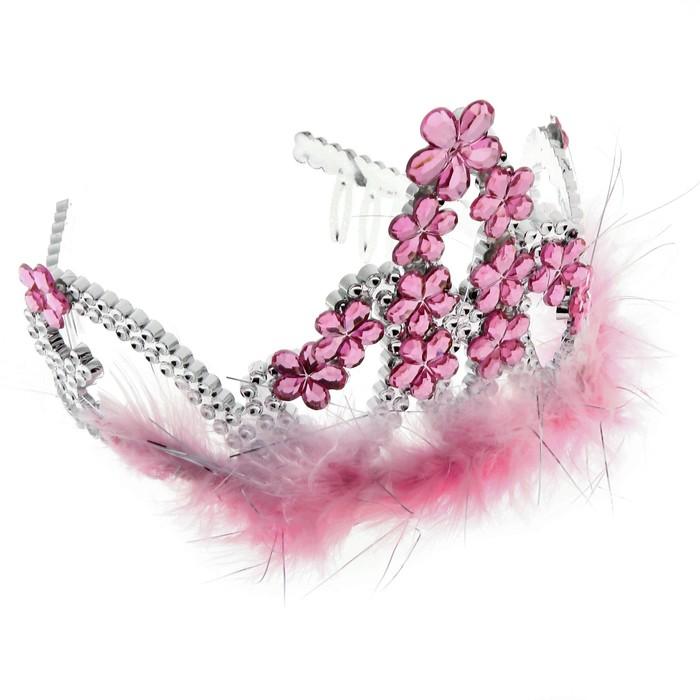 """Корона с мехом """"Цветочный рай"""" розовая"""