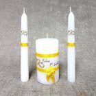 """Набор свечей """"Совет да любовь с розой"""" жёлтый: родительские свечи, домашний очаг"""