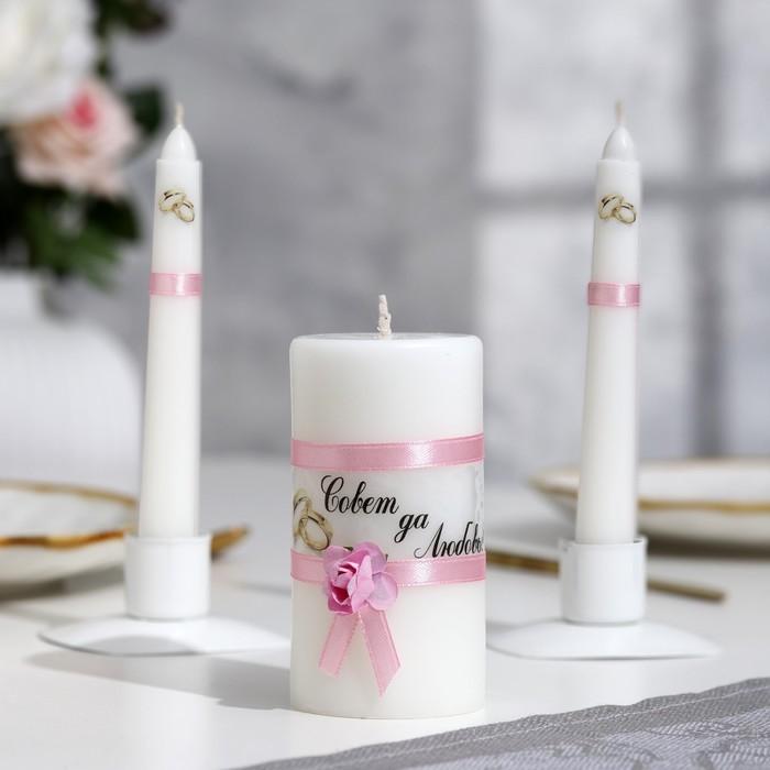 """Набор свечей """"Совет да любовь с розой"""" розовый: Родительские свечи Родительские свечи 1,8х15"""