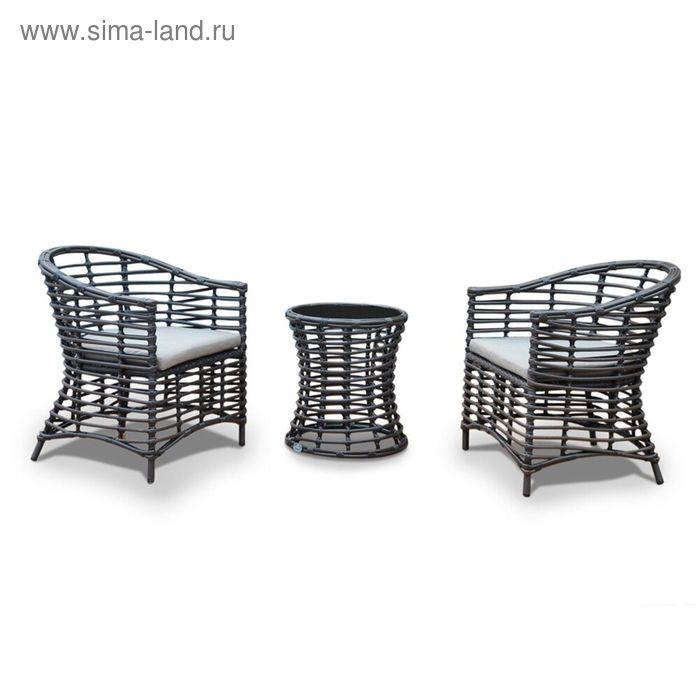 Комплект мебели из 2х стульев и 1 кофейного столика, чёрный/серый