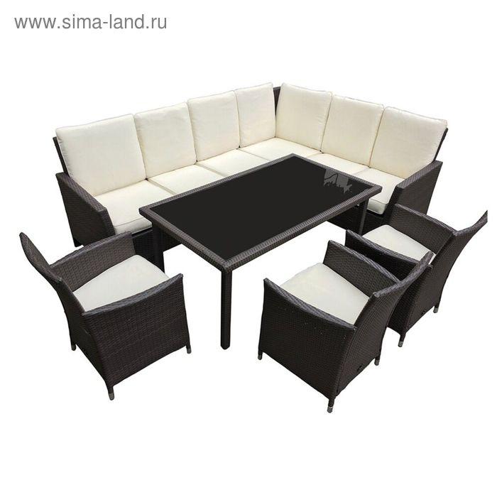 Комплект мебели на 6 персон, коричневый/бежевый