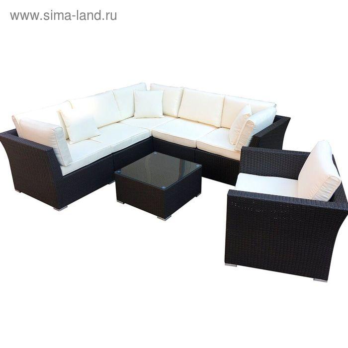 Комплект мебели из искусственного ротанга, коричневый/бежевый