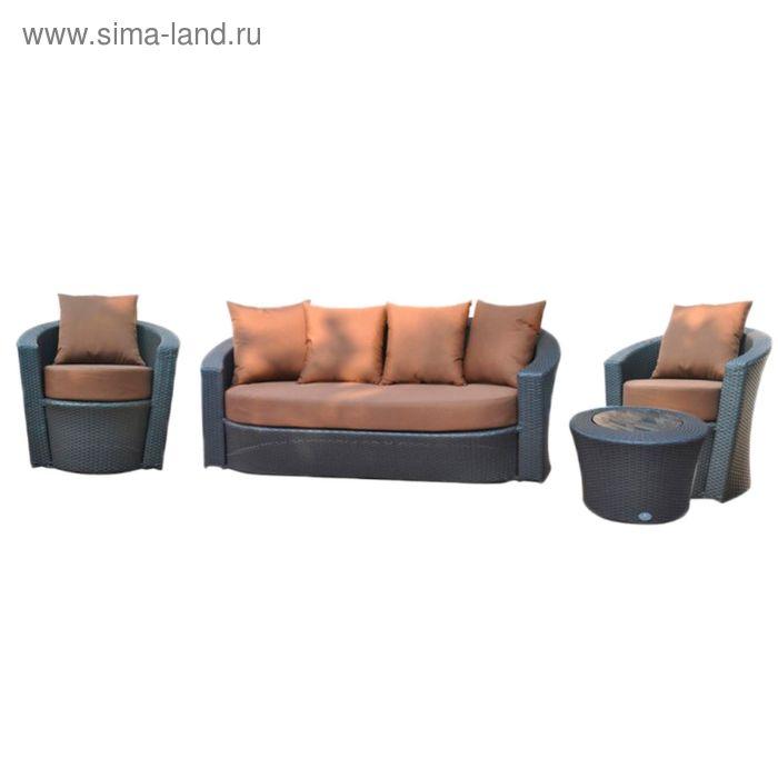 Комплект мебели на 5 персон, иск. ротанг, чёрный/коричневый