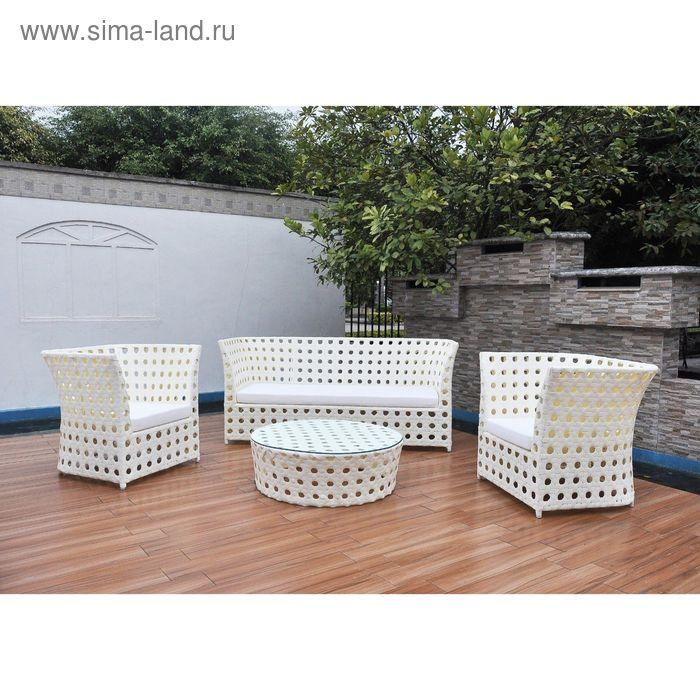 Комплект мебели на 4 персоны, иск. ротанг, белый/бежевый