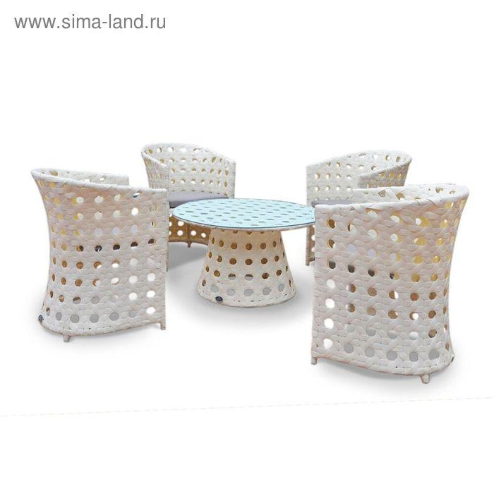 Комплект мебели на 4 персоны, иск. ротанг, белый/серый