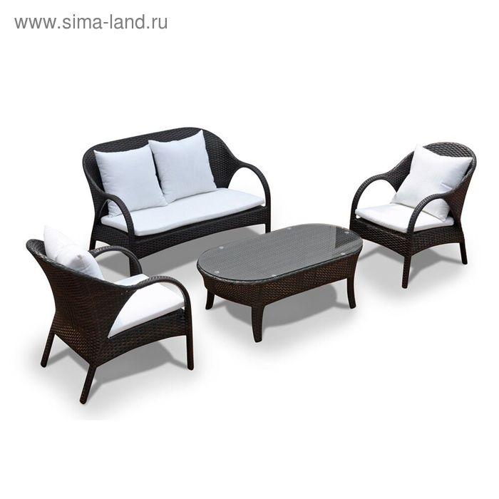 Комплект мебели на 4 персоны, иск. ротанг, белый/коричневый