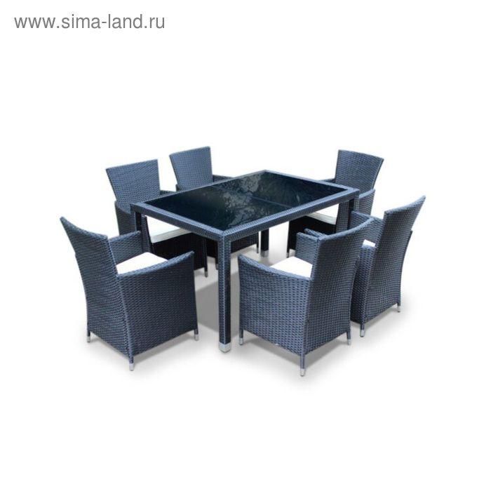 Комплект мебели на 6 персон, иск. ротанг, бежевый/коричневый