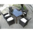 Стол, искусственный ротанг, коричневый, 130х90