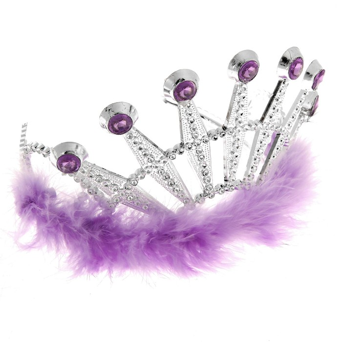 """Корона с мехом и камнями """"Франция"""" фиолетовая"""