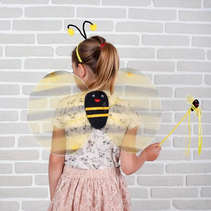 """Карнавальный набор """"Пчёлка"""", 3 предмета: крылья, палочка, ободок, 3-5 лет"""