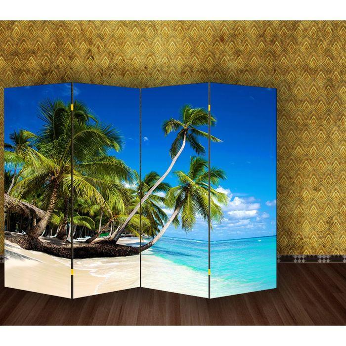 """Ширма """"Пальмы на пляже"""" 200 × 160см"""