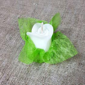 Свеча ароматическая «Бутон розы», ручная работа, белая, 4.5 х 3.5 см Ош