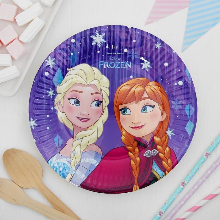 Тарелка бумажная «Холодное сердце. Торжество: снежки», 20 см, набор 8 шт.